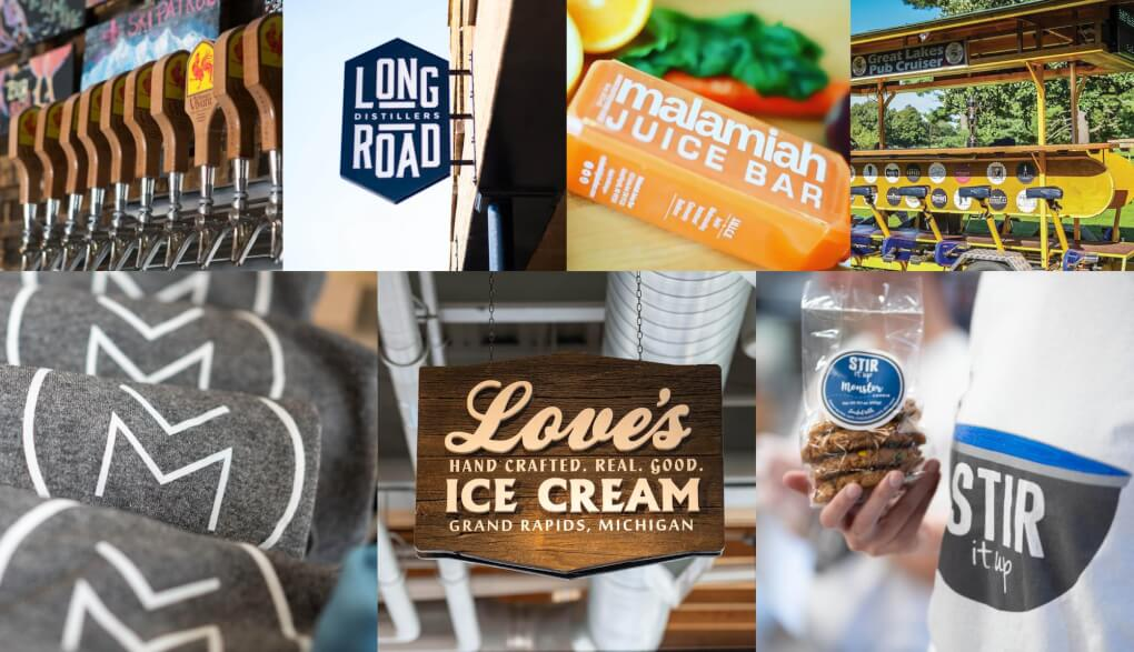 Photo collage, beer taps at brewery vivant, long road distillers sign, malamiah juice bar juice, Great lakes pub cruiser, T-Shirts at Muse, Love's ice cream sign and Stir it Up Cookies.